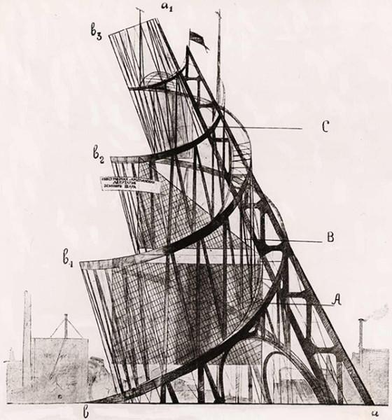Башня Татлина, чертёж. Источник: galleryhip.com