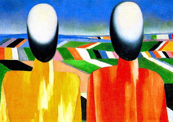 """Казимир Малевич, """"Два крестьянина на фоне полей"""". Фото: www.wikiart.org"""