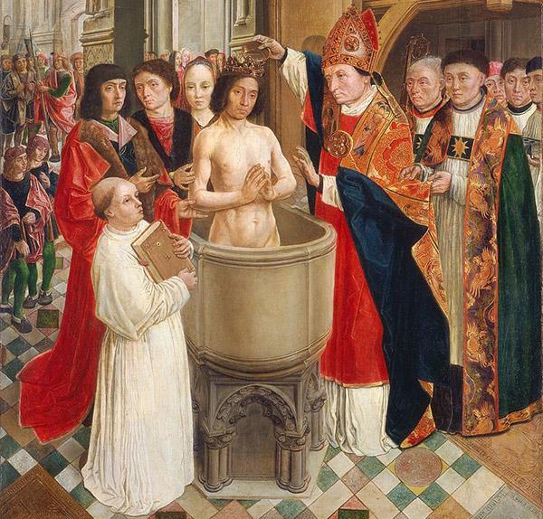 Мастер святого Эгидия. Крещение короля Хлодвига епископом Ремигием, около 1500 года