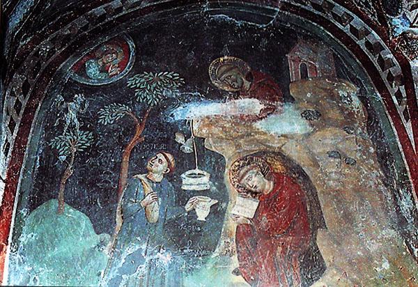 Монах Романо приносит еду в корзинке святому Бенедикту. Фреска. Сакро Спеко