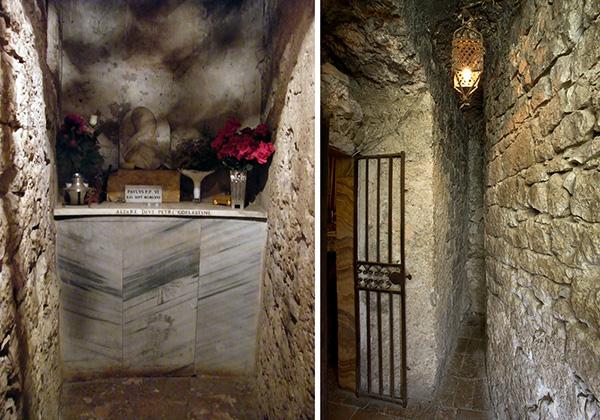 1) Замок Фумоне. Темница, в которой томился Целестин V. 2) Камера заточения Целестина V в замке Фумоне. Фотография с сайта www.castellodifumone.it