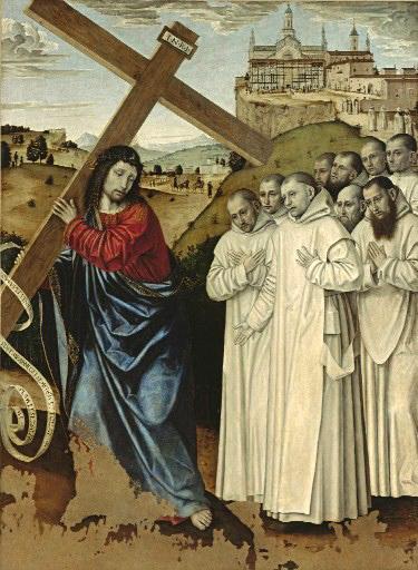 Амброджо Бергоньоне. Христос, несущий крест, сопровождаемый картезианцами. 1493. Пинакотека Маласпина. Павия