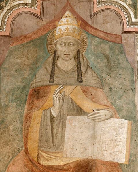 Никколо ди Томмазо. Целестин V. Фреска. Кастель Нуово. Неаполь XIV век