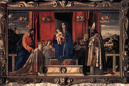 Джованни Беллини. Мадонна с младенцем, Святыми Марком и Августином и коленопреклонённым Агостино Барбариго. 1488.  Церковь Сан Пьетро Мартире, Мурано
