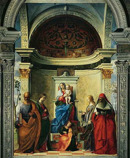 Джованни Беллини. Мадонна на троне со святыми Петром, Екатериной, Лючией и Иеронимом. 1505. Церковь Сан-Дзаккариа, Венеция