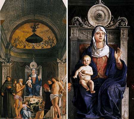 Джованни Беллини. Мадонна с младенцем и шестью святыми. 1478-1480. Алтарный образ для церкви Сан-Джоббе. Галерея Академии, Венеция