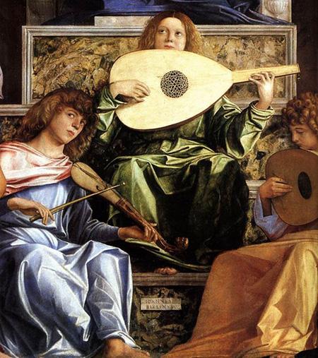 Джованни Беллини. Ангелы у трона. Алтарный образ для церкви Сан-Джоббе. 1478-1480. Галерея Академии, Венеция