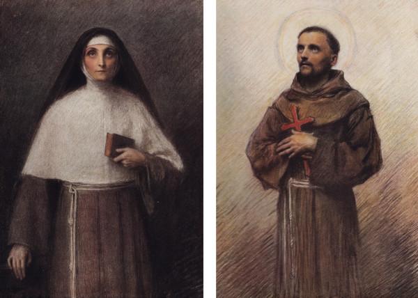 Эжен Бюрнан. Слева: Святая Клара Ассизская. Бумага, карандаш, акварель. Справа: Святой Франциск. Бумага, карандаш, сангина