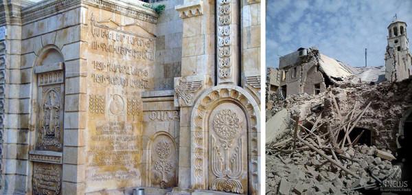 Армянская церковь Сорока Мучеников в Алеппо. Фото ДО и ПОСЛЕ: armenianweekly.com