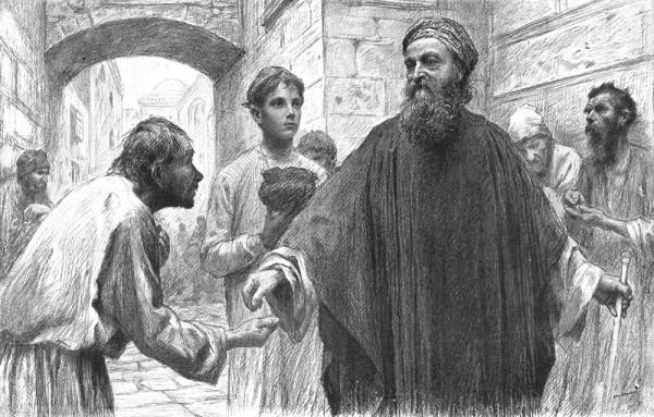 Эжен Бюрнан. Притча о фарисее и мытаре. Бумага, карандаш