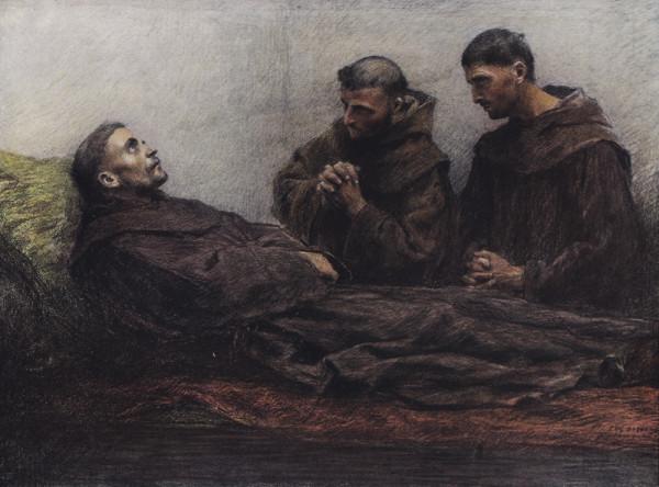 Эжен Бюрнан. Святой Франциск с братьями. Бумага, карандаш, сангина