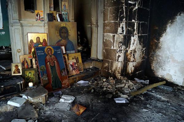 Вид храма в монастыре св. Феклы после освобождения поселка от боевиков. Фото: wikimedia.org