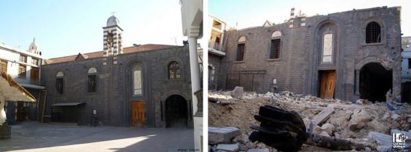 Церковь Пресвятой Богородицы в Хомсе. Фото ДО: www.panoramio.com Фото ПОСЛЕ: ar.qantara.de