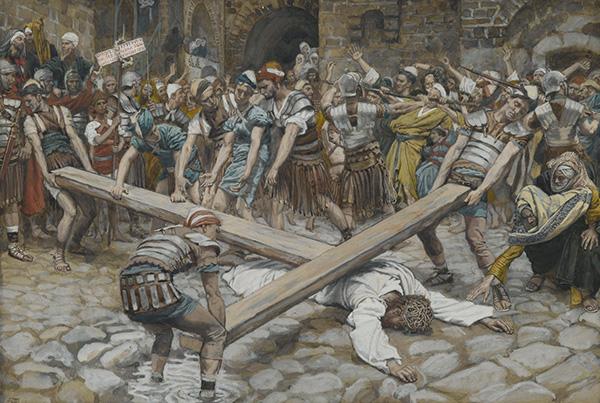 Симон Киринеянин помогает Иисусу нести крест