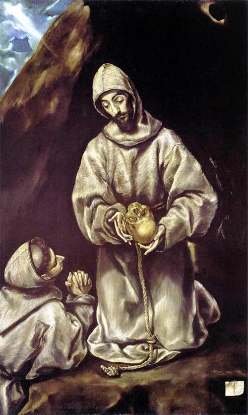 Святой Франциск и брат Лео размышляют о смерти. 1601-1605. Холст, масло. 102х65. Национальная галерея, Оттава
