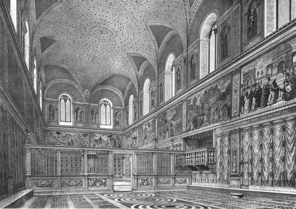 Реконструкция Сикстинской капеллы до росписи Микеланджело. Гравюра, XIX век